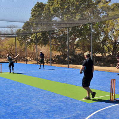 Play a game of cricket on the revamped court.