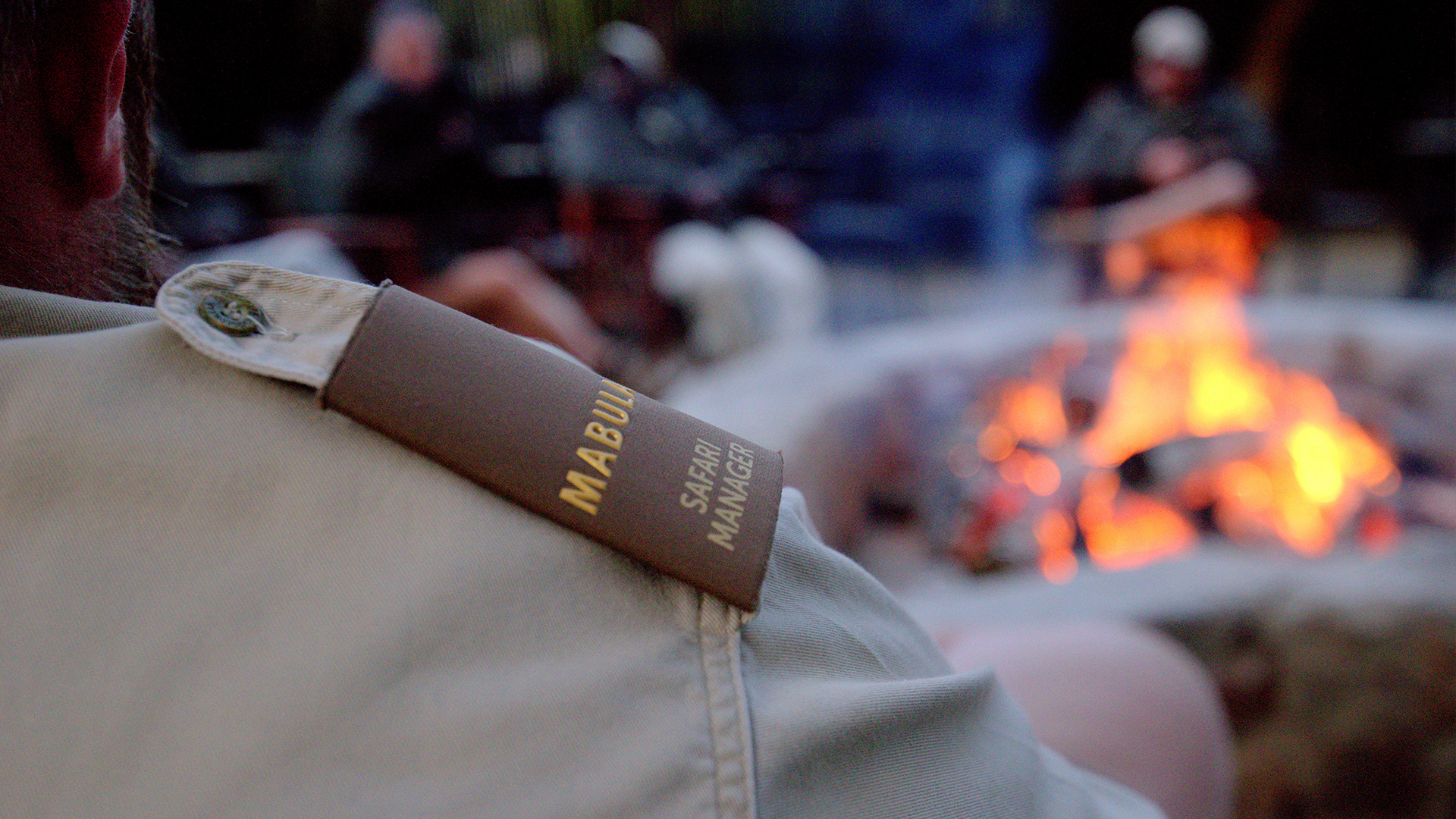 Shared myths and legends around  the fire at Mabula Game Lodge.